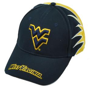 NCAA West Virginia Mountaineers Zig Zag Navy Blue Yellow Hat Cap Curved Bill