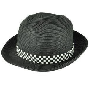 Black White Paper Straw Round Fedora Checkered Band Medium Large Hat Trilby