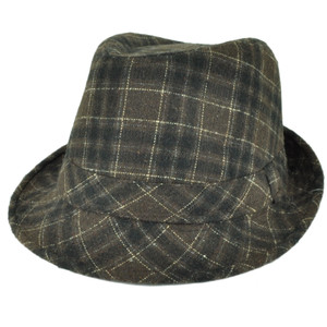 Fedora Plaid Pattern Brown Wool Diamond Top Gangster Trilby Stetson Hat 58cm
