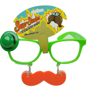 Sun Staches Green St Patricks Day Saint Pattys Lucky Irish Mustache Glasses Clear