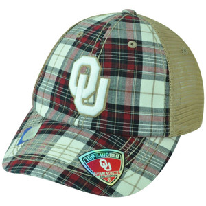NCAA Oklahoma Sooners Avery Two Tone Plaid Trucker Snapback Adjustable Hat Cap