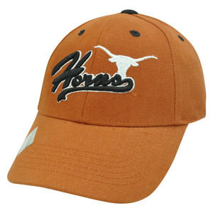 NCAA Texas Longhorn Script Curved Bill Adjustable Velcro Burnt Orange Hat Cap