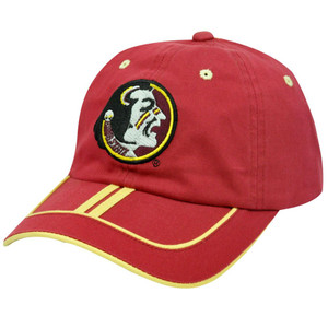 NCAA Florida State Seminoles FSU Garment Wash Maroon Red Gold Stripe Hat Cap