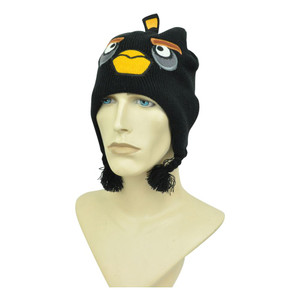 Angry Birds Bomb Black Peruvian Pom Pom Ear Flap Video Game Knit Beanie Skully
