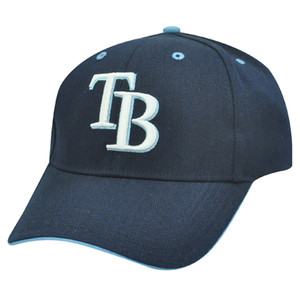 MLB Tampa Bay Rays 3D Baseball Hat Cap Navy Light Blue Licensed Construct Cotton