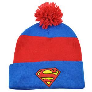 Superman DC Comics Shield Logo Pom Pom Striped Beanie Cuffed Knit Hat Super Hero