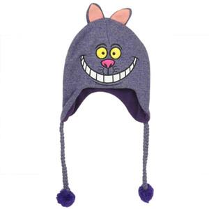 Alice In Wonderland Cheshire Cat Laplander Peruvian Knit Beanie Purple Hat Warm