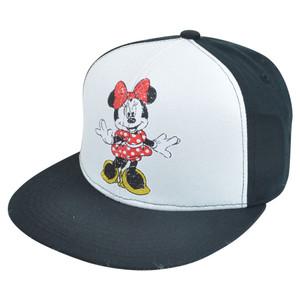 Disney Minnie Mouse Distressed Retro Flat Bill Two Tone Snapback White Hat Cap