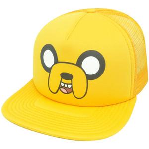 Adventure Time Jake Big Face Trucker Yellow Snapback Mesh Flat Bill  Hat Cap