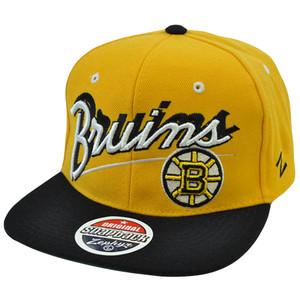 NHL LNH Boston Bruins Snapback Original Zephyr Flat Bill Yellow Black Hat Cap