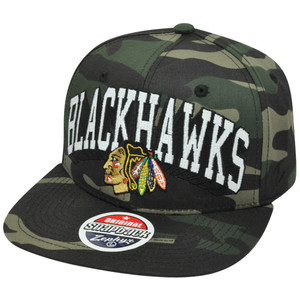 NHL Chicago Blackhawks Camouflage Camo Zephyr Snapback Flat Bill Adjustable Hat