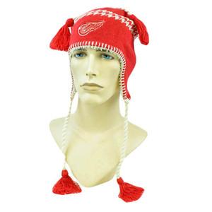 NHL LNH Alpine Tassels Beanie Toque Fleece Knit Zephyr Hat Detroit Red Wings