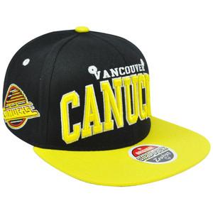 NHL LNH Vancouver Canucks Black Super Star 32/5 Flat Zephyr Snapback Hat Cap