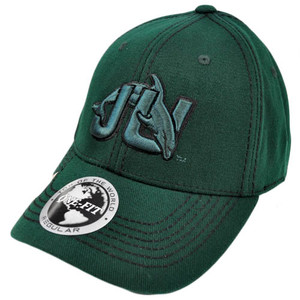 NCAA Jacksonville Dolphins Top of World Green Black Stitch Flex Stretch Fit Hat