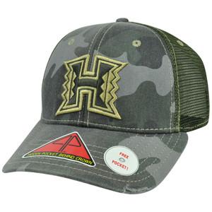 NCAA Hawaii Warriors Deliverance Pro Pocket Distressed Camo Flex Fit Hat Cap M/L