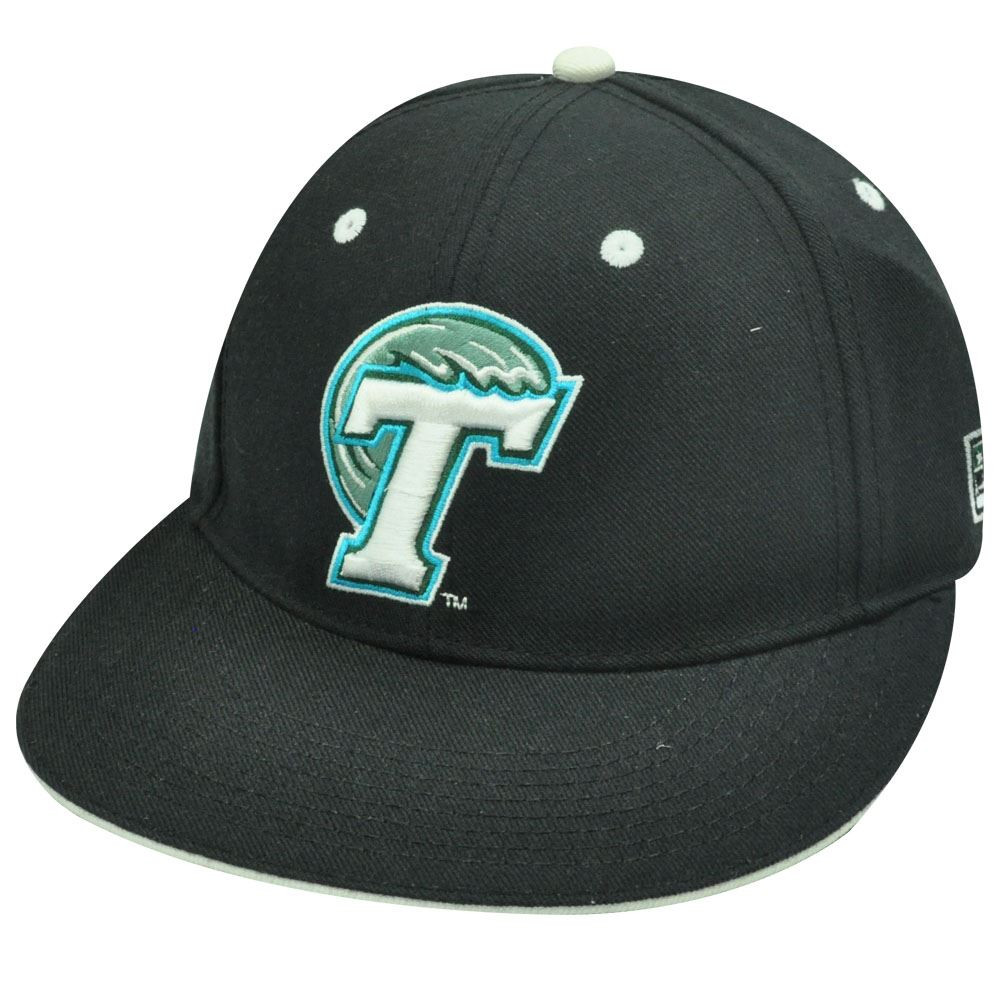 brand new ea64c c1939 ... best ncaa fitted cap hat flat black tulane green wave 6 7 8 cap store  d8736