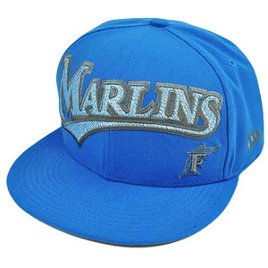 MLB Florida Marlins New Era 59Fifty 5950 Fitted Hat Cap Blue On Field 7 1/4