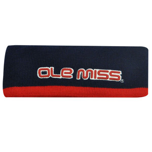 NCAA HEAD BAND SWEAT OLE MISS REBELS NAVY BLUE RED