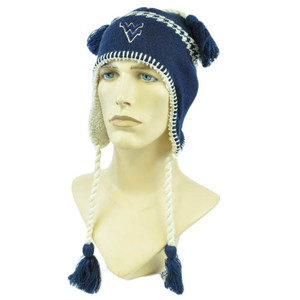 NCAA Zephyr Alpine Tassel Knit Beanie Hat Ear Flaps West Virginia Mountaineers
