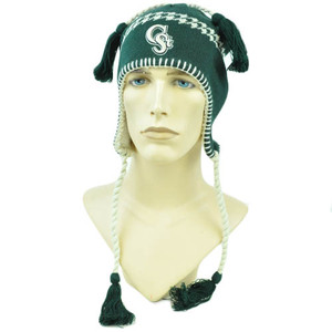 NCAA Zephyr Alpine Tassel Knit Beanie Hat Ear Flaps Toque Colorado State Rams