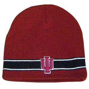 NCAA INDIANA HOOSIERS RED MAROON BLK BEANIE KNIT TOQUE