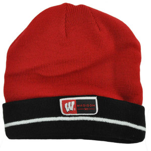 NCAA Wisconsin Badgers Cuffed Madison Beanie Knit Skully Toque Stripes Hat Red