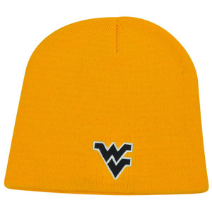 NCAA West Virginia Mountaineers Cuffless Logo Beanie Winter Knit Thick Toque Hat