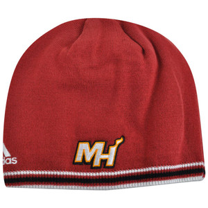 c76e4a72bfc NBA Miami Heat Adidas Cuffless KF12Z Knit Beanie Toque Skully Skull Red Hat