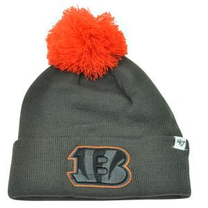 NFL '47 Brand Cincinnati Bengals Justus Charcoal Pom Cuffed Knit Beanie Skully