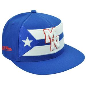 CUBA FITTED FLAT BILL WHITE HAT CAP MITCHELL NESS 7 1/8