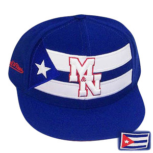 CUBA FITTED FLAT BILL WHITE HAT CAP MITCHELL NESS 6 7/8