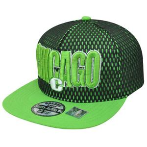 Chicago Illinois Chi Town Jersey Neon Green Flat Bill Snapback Windy City Hat