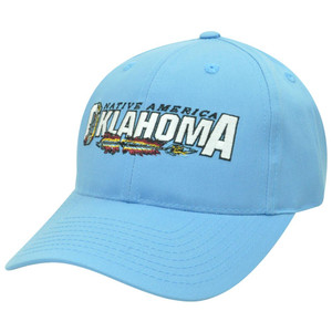 Native America Oklahoma OK Feathers Twill Cotton Velcro Curved Bill Hat Cap Blue