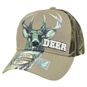 Deer Camouflage Camo Hunting Hunt Velcro Beige Buck Curved Bill Camping Hat Cap