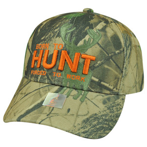 Born Hunt Forced to Work Camouflage Camo Velcro Outdoors Sport Hunting Hat Cap