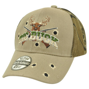 Big Buck Hunter Hunting Hunt Outdoors Two Tone Camouflage Camo Hat Cap Beige