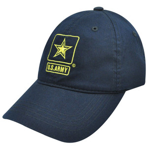 HAT CAP UNITED STATES US ARMY MILITARY STAR NAVY BLUE YELLOW GARMENT WASH VELCRO