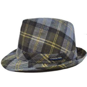 Authentic London Fog Blue Khaki Brown Plaid Large XLarge Fedora Gangster Hat