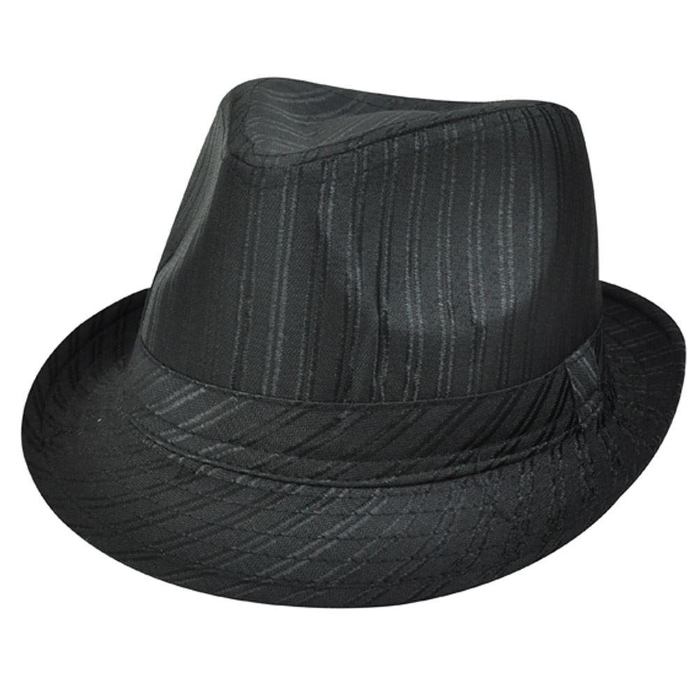 FEDORA HAT BLACK WITH METALLIC BLACK STRIPES SMALL MED - Cap Store ... 36ea42da5d7