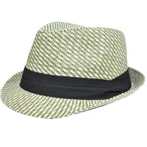 Woven Khaki Straw Hat Large XLarge Pattern Fedora Ribbon Stetson Gangster FD -185 8fba30baf50a