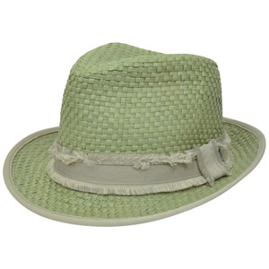 Peter Grimm Woven Straw Depp Fedora Stetson Trilby Small Medium Diamond Top  Hat 51048b5dac8f