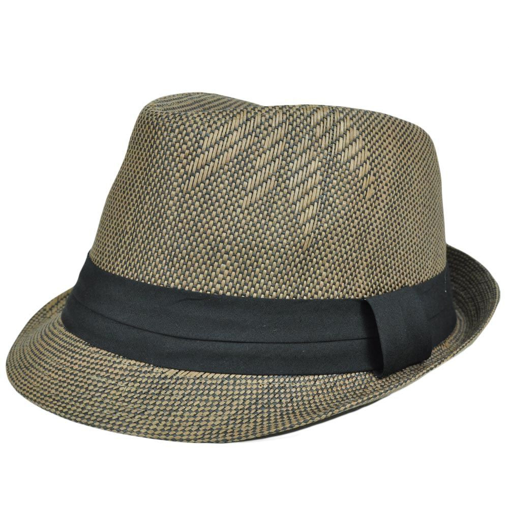 Small Medium Woven Straw Fedora Trilby Stetson Gangster Hat Band FD ... 4021ddb11e1