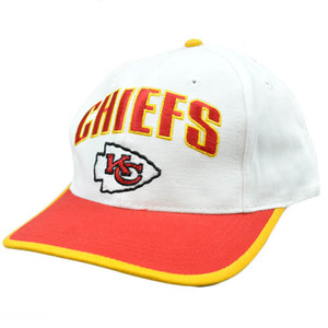 NFL Kansas City Chiefs White Red Yellow Vintage Retro Flat Bill Snapback Hat Cap