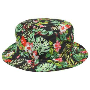 Tropical Flowers Pattern Design Graphic One Size Bucket Black Hat Blank  Beach 6d157b2ddb42