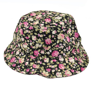 Floral Flower Pattern Sun Bucket Fitted Small Medium Plain Hat Outdoors  Black bbfba30ce176