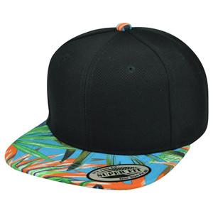 6faa5706f07fa inexpensive blank plain solid black palm tree leaf design flat bill snapback  hat cap pattern 687ba