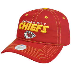 NFL Kansas City Chiefs Barber Adjustable Velcro Garment Wash Curved Bill Hat Cap