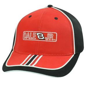 HAT CAP DALE EARNHARDT JR 8 BUDWEISER NASCAR FLEX FIT 7 1/8 RACE RACING RED BLK