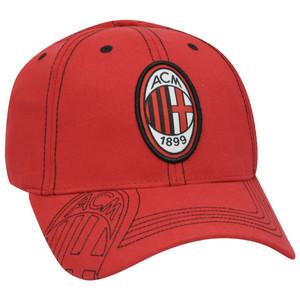 AC Milan ACM Shield 1899 Soccer Gorra Serie A Sun Buckle Curved Bill Hat Cap