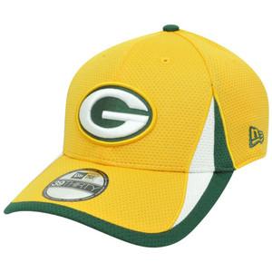 NFL New Era 3930 Green Bay Packers Training Camp Flex Fit S/M Hat Cap Yellow